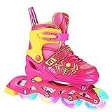 Inline Skates Kinder/Jungen/Mädchen Canvas Design Einstellbare Rollschuhe Kinder Mit Leucht PU Räder Dreifach Schutz Leichte Inline Skates (Rosa/Gelb, S: 31-34 EU)