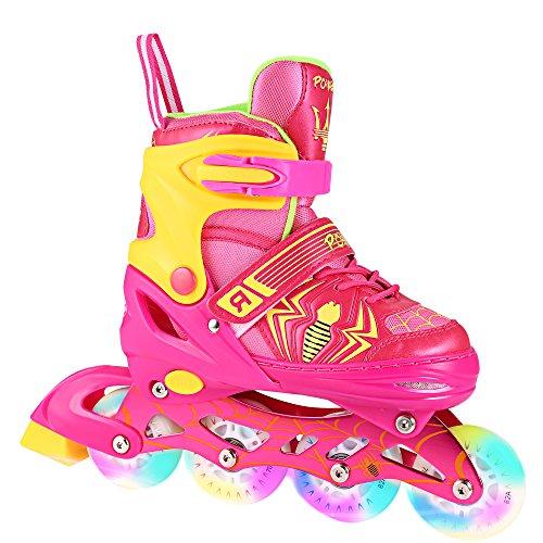 Inline Skates Kinder/Jungen/Mädchen Canvas Design Einstellbare Rollschuhe Kinder Mit Leucht PU Räder Dreifach Schutz Leichte Inline Skates (Rosa/Gelb, M: 35-38 EU)