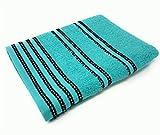 10 gestreifte hell 100% gekämmte Baumwolle weich absorbierend türkisblau Handtücher