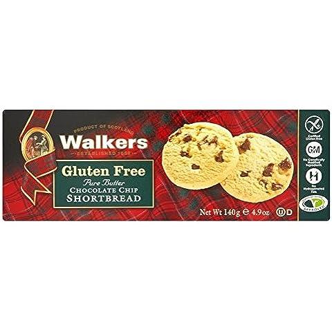 Walkers Gluten De Chocolate Sin Chip De Galletas De Mantequilla 140g (Paquete de 2)