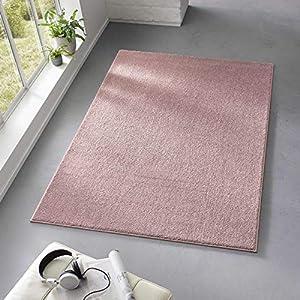 Taracarpet Teppich Kurzflor weicher Designer Uni Bodenbelag Madrid fürs Wohnzimmer, Kinderzimmer, Schlafzimmer und die Küche geeignet Rosa 120x170 cm