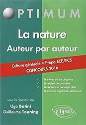 La Nature Auteur par Auteur Culture Générale Prépa ECE/ECS Concours 2016