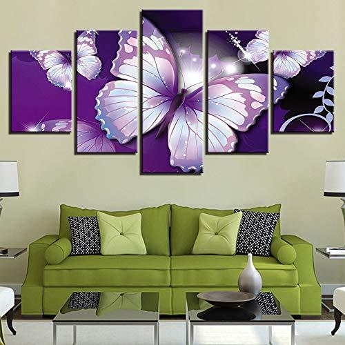 ular Auf Leinwand Wandkunst Home Poster Arbeiten 5 Panel ButterflyWohnzimmer HD Gedruckt Modernes Bild ()