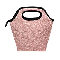 Use7 Rose Gold Pink Red Glitter Insulated Lunch Bag Tote Bag Cooler Lunchbox