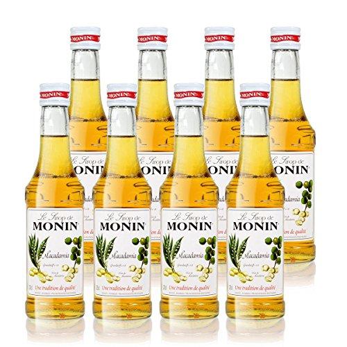 8x Monin Macadamia Sirup, 250 ml Flasche