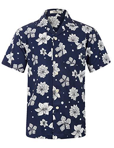 Schwarzes Hawaii-aloha-shirt (Herren Hawaii Hemd Kurzarm Flamingos Aloha Party Shirt Palm Beach Shirts Weiße Blumen auf SchwarzEHS028-M)
