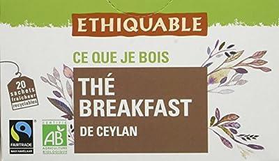 Ethiquable Thé Breakfast Ceylan Bio et Équitable 20 Sachets Max Havelaar - Lot de 4