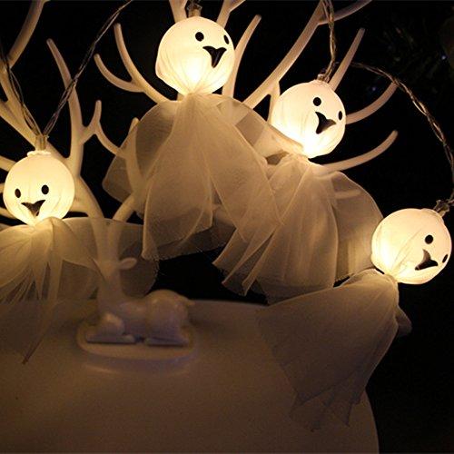 Halloween Dekoration Lichterkette FeiliandaJJ 1.5M 10LED Stoff Geist Elf Grimasse für Halloween Wohnzimmer,Feier, Hof,2xAABatteries (Weiß)