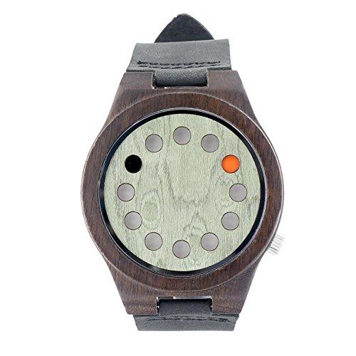 MSB 12 trous bracelet vert surface / cuir ébène / montre à quartz vert table en bois / bois