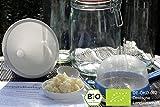 Original Bio Kefir / Milchkefir Komplettset mit Premium Kefirpilzen für (1 Liter Kefir Drink)[ DIE KNOLLEN WACHSEN UND KÖNNEN IMMER WIEDER VERWENDET WERDEN) inkl. 20-seitigem farbigen Kefirbuch mit ausführlicher Anleitung und Rezepten