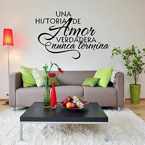 guijiumai Family Quote Adesivo Art Stickers Home Decor Soggiorno Una Historia De Amor Verdadera Nunca Termina Decalcomanie in PVC Nero 88x57 cm