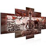 Runa Art Bilder Buddha Feng Shui Wandbild 200 x 100 cm Vlies - Leinwand Bild XXL Format Wandbilder Wohnzimmer Wohnung Deko Kunstdrucke Rot 5 Teilig - Made IN Germany - Fertig zum Aufhängen 503251a
