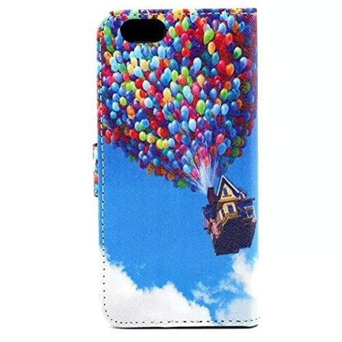Gift_Source iPhone 6 hülle, iPhone 6S hülle, Brieftasche Ledertasche Bookstyle Schutzhülle Leder Flip case Etui for Apple iPhone 6S/6 4.7 inch [ Regenbogen ] E01-01-Balloon & House