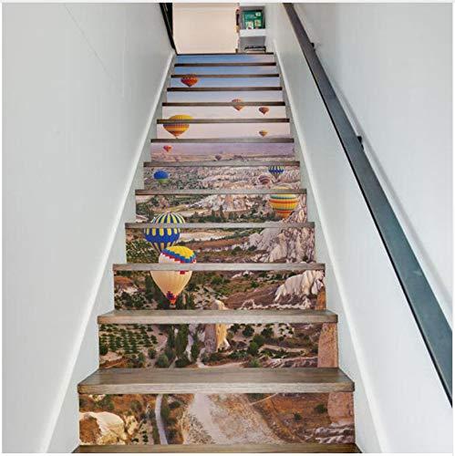 z 3D Heißluft Ballon Treppen Aufkleber Wandbild DIY Landschaft Home Treppen Wandaufkleber Papier Für Wohnzimmer Dekor ()