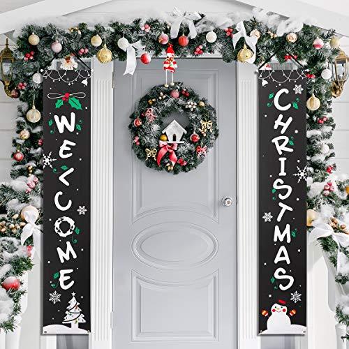 Amosfun Banner Portico di Natale Benvenuto Banner Decorativo per Appendere Decorazioni Natalizie per Porte da Cortile o Banner per pareti Interne
