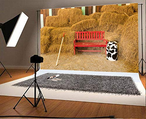 vrupi 10x6.5ft Vinyl Photography Backdrop Old Barn Rustic Farm Tool Rake Red Wooden Chair Straw Hay Bale Vintage Stripes Wood Plank Cow Bottle Autumn Photo Background Children Baby Adults Portraits -