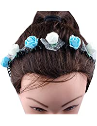 Kabello Multi Colored Flower Headband / Hair Band For Girls And Women (Blue / White)