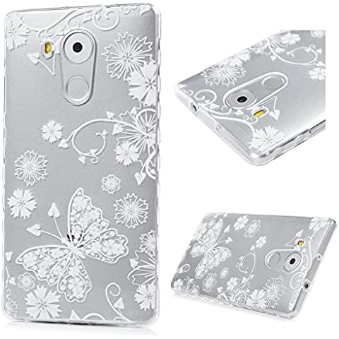 Huawei Mate 8 Funda Cubierta - Lanveni Chic Carcasa Suave Flexible TPU Gel Silicona ultra delgado para Huawei Mate 8 Pintado Protective Ondulado Frontera Case Cover - Patrón Mariposa Blanca