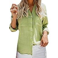 Geili Damen Baumwolle Leinen Casual Einfarbig Langarm Roll-up Sleeve Pocket Shirt Frauen Basic Freizeit Bluse... preisvergleich bei billige-tabletten.eu