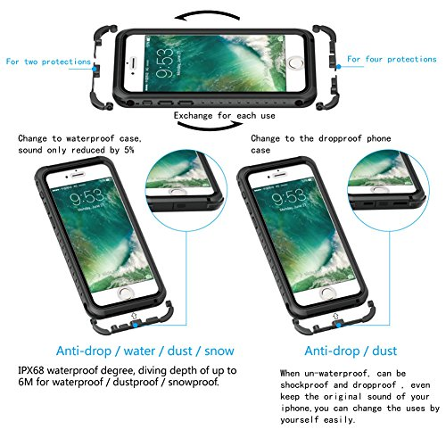 iPhone 7 Plus / 8 Plus Hülle,UltraSlim Thermo Sensor Fluoreszierende Thermo Hitze Induktion matt weich PC Schutzhülle Handyhülle Tasche für Apple iPhone 7 Plus / 8 Plus 5.5 Zoll mit Farbwechsel Back C waterproof-Schwarz + Schwarz