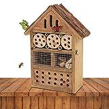 Gardigo 90538 - Hôtel à Insectes en Bois Naturel/Bambou; Refuge pour Hibernation/Nidification; Maison, Abri, Nichoir à Coccinelle Abeilles Papillons Guêpes; Facile à suspendre - Idée cadeau