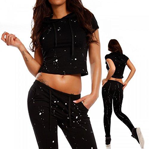 Damen Freizeitanzug Yogatights & Sweater Homewear Jogger Set Schwarz/Muster1