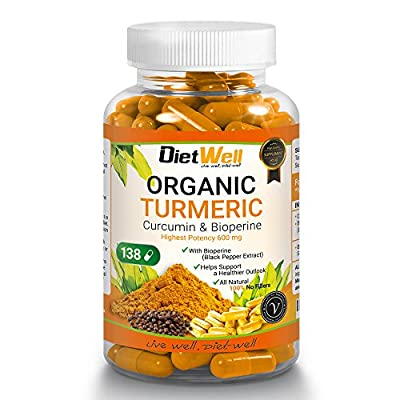 Organic Turmeric Premium Capsule Supplements by DietWell 15% Extra - 100% Vegan 138 Organic Turmeric Pills With Bioperin Black Pepper, Curcumin & ginger For Superior Absorption, Bio-availability, & Max Potency - 138 Turmeric Capsules Free Of Fillers