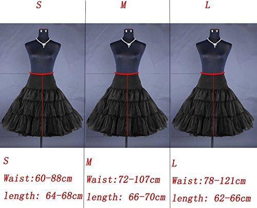 MisShow® Knielang Organza Petticoat Reifrock Unterrock 50s Vintage Underskirt TuTu Kleid Schwarz