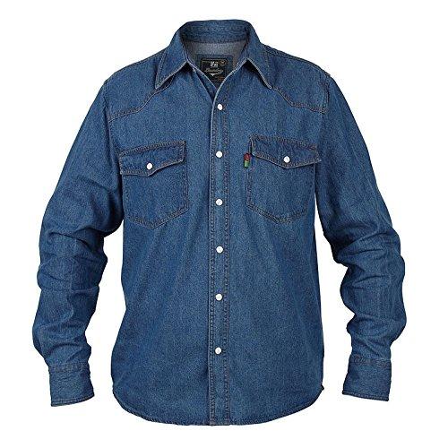 Große Großen King-size Herren Rockford Duke Westliche Jeanshemd Stonewash Blau Langärmeliges Oberteil - XXXXXL Westliche Sommer-shirts