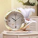 Y-Hui die Uhr auf der Stereoanlage Wecker Schwingen In der Stille Desktop Art Deco Schlafzimmer Wecker, Uhr, Parfüm Lily Green 36 * 29 Cm