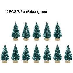 Mini-sapin De Noël En Sisal, 12 Pièces - Décoration, Petit Sapin De Noël - Or Argenté, Bleu, Blanc, Mini-arbre