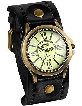 JewelryWe Retro Damen Armbanduhr, Vintage Analog Quarz Uhr mit römische Ziffern Zifferblatt, Breit Leder Armband...