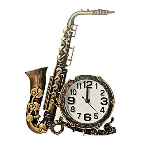 PLYY Kreative Dekoration Simulation Saxophon Musikinstrument Uhr Tischuhr Zeit Uhr Wohnzimmer Dekorationen, A