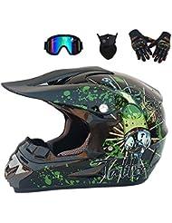YYCC-helmet Casco Adulto Motocross Casco Moto MX ATV Casco Scooter ATV D.O.T Certificato Rockstar Multicolore con Maschera Guanti Maschera,XL(58~59cm)