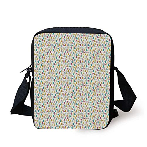 Earth-dots (Abstract,Ornamental Pattern Rain Droplets Different Designs Lines Dots,Earth Yellow Turquoise Magenta Print Kids Crossbody Messenger Bag Purse)