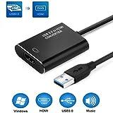 Adaptador USB a HDMI 1080P Cable, Adaptador de audio de vídeo, adaptador de monitores múltiples, convertidor para portátil HDTV TV Windows 7/8/10 PC sólo (no compatible con Mac) negro