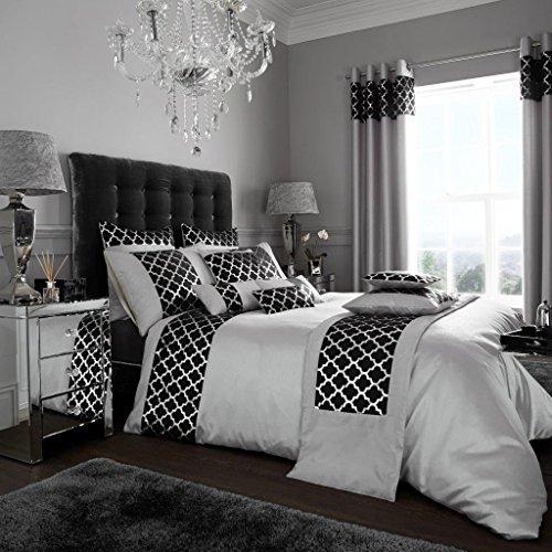 Adam glänzend Silk Feel Bettbezug/Quilt Betten Set mit Kissen Fall Paar, schwarz/Silber, King Size (King-size-bett Quilts Für)