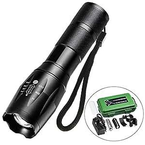 Torcia LED, Ultra Luminoso 900 LM, Torcia Impermeabile Ricaricabile Tascabile Militare con 5 Modalità di Illuminazione e Batteria 18650, Ideale per Attività All'aperto (Nero)