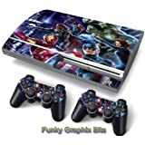 PS3 PlayStation 3 Skin Stickers PVC for Console + 2 Controllers/ Pads Decal Protector Cover Art Leather Effect