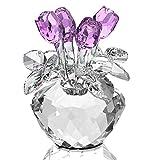 H&D Frühlingsblumengesteck aus Kristallglas, violette Rosen, Figur in Geschenkverpackung