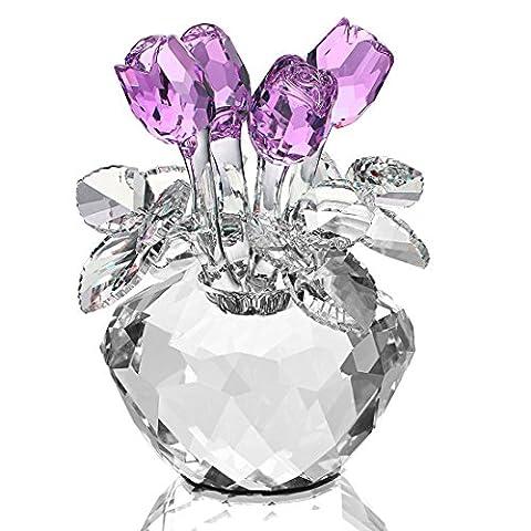 H & D Spring Bouquet Kristall Glas Blumen Rose Figur Ornament Lila mit Geschenkbox (Valentines Geschenke Idee)