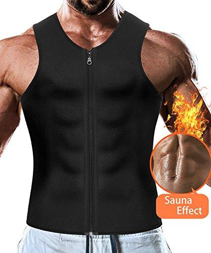 Faja Reductora Adelgazante Hombre Neopreno Camiseta Reductora Compresión de Sauna Chaleco para Desarrollo Muscular Pérdida de Peso con Quema Grasa Deportivo (Negro, L)