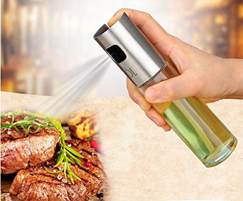 BoomYou Vaporisateur de Cusine Portable d'huile d'olive et de vinaigre balsamique de cuisson Sauce soja vin Vaporiser haut de gamme 304 Huile Griller en acier inoxydable Bouteille 100 ml pour cuisson Salade à PAIN Injector Barbecue