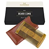 Dual Action Beard Comb - Perfect for Balms and Oils - Sandalwood Scent, Fine/Coarse Tooth - Premium EDC Sleeve and Gift Box Included