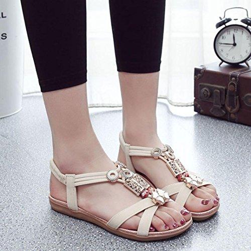 Koly_Moda donne Boho sandali di cuoio piani Sandali Scar Beige