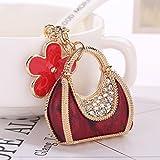 Artistic9(TM Strass Handtasche Legierung Mini Tasche Sparkling Charm Schlüsselanhänger Ring KFZ Schlüssel Anhänger, Wein, B