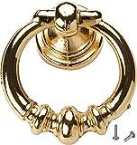 youngschwinnDESIGN - Hängegriff aus Antik Metall Glanzgold | Durchmesser: 40mm | Schrankgriff, Schubladengriff | Incl. Schrauben