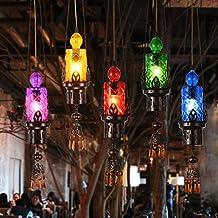 GYD Lámpara de Mesa de Bar Creative Lámpara de Mesa de Barra Retro Americana Lámpara de Vidrio de Color Pequeña (sin Fuente de Luz) ( Color : Rojo )