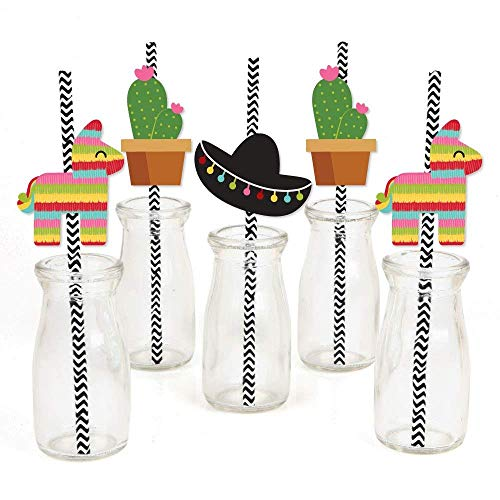 TickTocking – Papier-Strohhalme Dekor – Fiesta Party gestreift Dekorative Strohhalme – Set von a