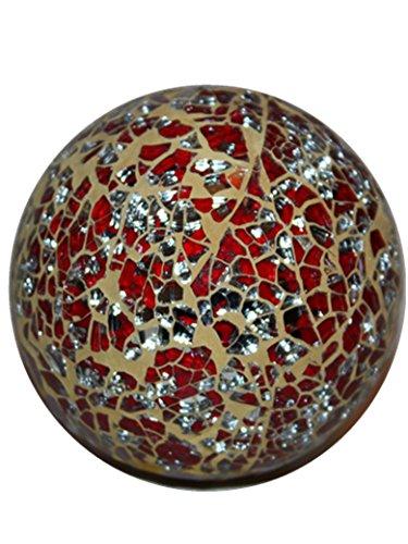decoratives-parkling-crackle-glass-mosaic-globe-ball-ornament-9cm-10cm-11cm-beige-red-silver-11cm